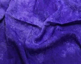 "Hand Dyed Iris Purple PAISLEY - Silk Jacquard Fabric - 9""x22"" remnant"