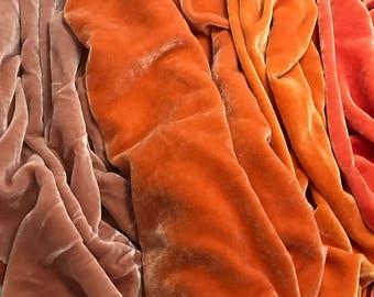 "Muted Orange Sample Set - Hand Dyed Silk Velvet Fabric - 9""x22"" Each"