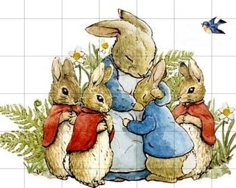 Mrs. Rabbit, PETER, MOPSY, FLOPSY and Cotton Tail with Bluebird, Vintage Print on Fabric.  Fabric Block Panel.  Size Options