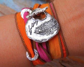 Peacock Feather Jewelry, Feather Jewelry, Feather STERLING Silver Silk Wrap Bracelet Trend, Feather Fashion Trend, Feather Jewelry Trend