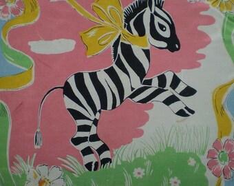 Vintage 50s Zebra Novelty Print Large Scarf 26' x 29'