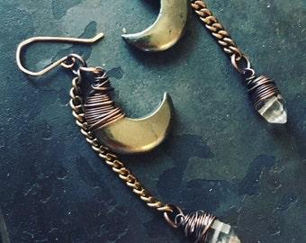 Moon Earrings Healing Crystal Earrings Dangle Earrings Crescent Moon Daniellerosebean Drop Earrings Herkimer Diamond Earrings Black Friday
