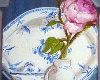 Cottage Decor Blue and White China Art Print of my Original Painting The Cabbage Rose Fine Art Print