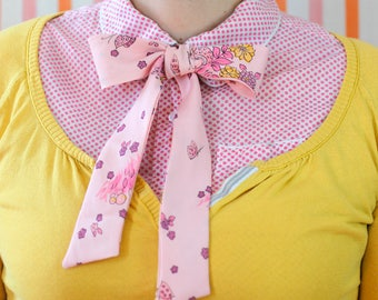 pink butterfly pussy bow // self tie bow tie for women // xoelle lady tie