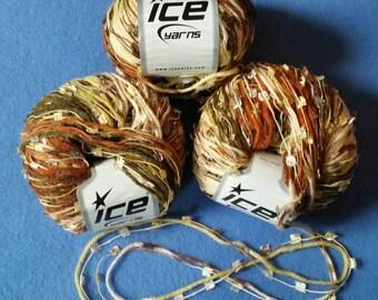 Three Skeins Multi-strand Novelty Yarn by Ice Yarns - variegated rust, olive green, and tan premium multistrand yarn
