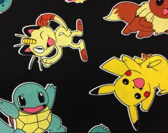 Cotton Black Pillowcase with Pokémon Print