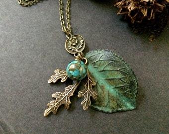 Oak Leaf Necklace Woodland Leaves Turquoise Bead Green Leaf Boho Botanical Nature Inspired Woodland Wedding Antique Brass Charm Necklace