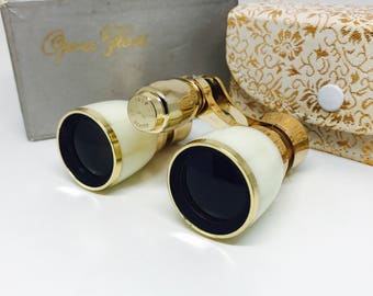 Vintage Mother of Pearl Seldi 3x Archomatic Opera Glasses Binoculars, Gold Tone, Made in Japan