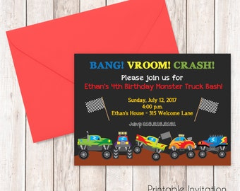 Monster Truck Birthday Invitation, Printable Invitation Design, Custom Wording, JPEG File