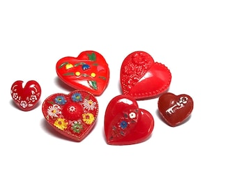 Group Of Six Vintage Glass Realistic Buttons - Heart Shapes - Red