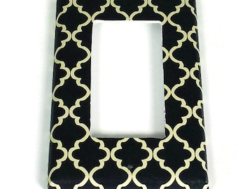 Light Switch Cover Wall Decor Rocker Switchplate  Switch Plate in Navy and Cream Quatrefoil  (257R)