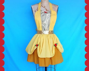 BELLE apron, Belle costume apron, hostess apron, Holiday hostess apron, Beauty and the Beast apron, APRON, women's full apron, hostess gift