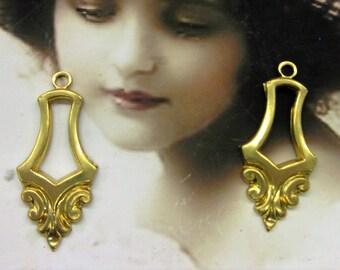 Raw Brass Ornate Brass Jewelry Connectors 309RAW  x2