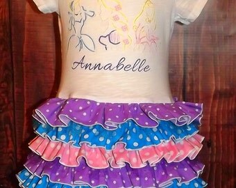 Disney Princess Inspired Ruffle T-Shirt Dress, Belle, Cinderella, Rapunzel