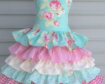 Ready to Ship Custom Boutique Tanya Whelan Lola 5 Ruffle dress Girl Size 5 or 6