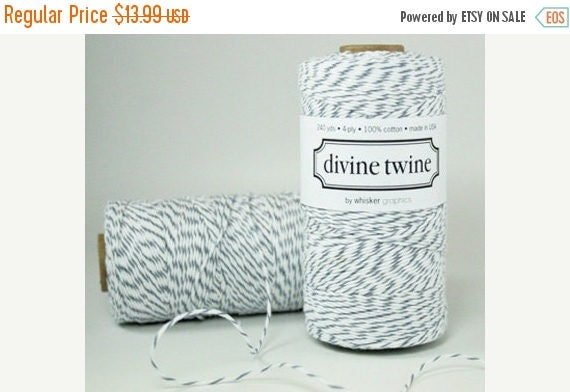 Spring Sale 10% off 240 Yards Eco Friendly Oyster grey and White Divine Twine
