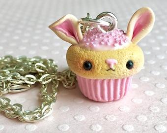 Pink Bunny Cupcake Charm