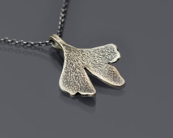 Small Silver Gingko Leaf Necklace, sterling silver botanical necklace, etched pendant, botanical jewelry, dainty necklace