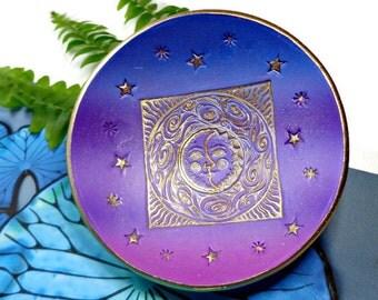 Sun Moon Stars Ring Dish Polymer Clay Dish Purple Ring Holder- Personalized Gift Zen Friendship Ring Dish