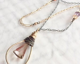 Ametrine Necklace in Mixed Metals - Gold Filled and Oxidized Sterling Silver