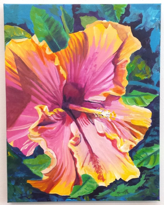 hibiscus original acrylic painting from kauai hawaii hawaiian