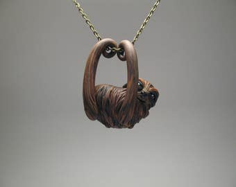 Hanging Sloth Necklace - Polymer Clay Jewelry