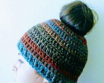 Messy bun hat,ponytail hat