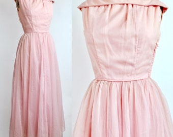 Pretty in Pink Party Dress | Vintage 1950s Fit and Flare Dress | Pastel Pink Rolled Collar Evening Gown | XXS
