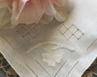 Vintage Linen Handkerchief, Wedding Handkerchief, Drawn Work Hanky