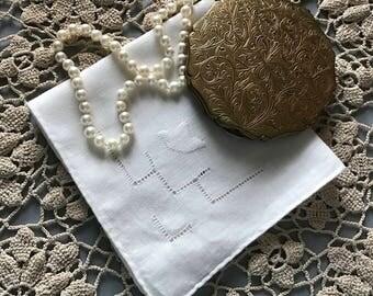 Hand Applique Handkerchief, Wedding Handkerchief,k Drawn Work Hanky, Linen Handkerchief, Batiste Handkerchief, Vintage
