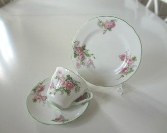 SALE - Summer Roses Vintage Trio Teacup Set Lovely English Porcelain China  - Shabby Chic Pink Roses - EnglishPreserves