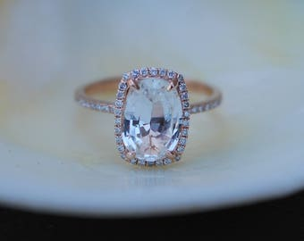 Ice peach champagne sapphire 14k rose gold diamond ring engagement ring 2.63ct cushion sapphire