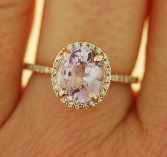Lavender Peach sapphire ring diamond ring 14k rose gold engagement ring 2.25ct oval lavender sapphire. Engagement ring by Eidelprecious