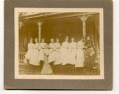 Cabinet Card All the Fine Ladies in a Row on the Porch