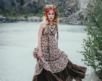 Sale - AGAVE DRESS - Bohemian Hippie Maxi Elegant Prom Wedding Party Burning man Maternity Gypsy Ethnic Ornament - Red purple Flower floral