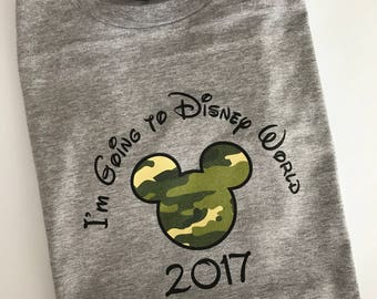 Custom Personalized I'm Going to Disneyworld Mouse Ears T Shirt - Camo Mouse Ears