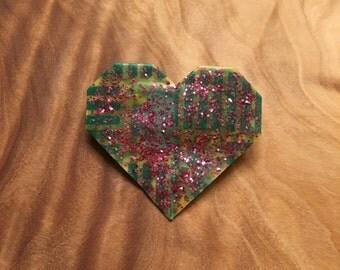 Heart Pin // Glitter Heart Pin