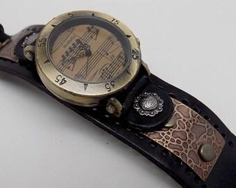SALE......Steampunk watch. Leather cuff watch. Biker watch.