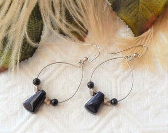 SALE..........One of a Kind Sterling Silver and Blue Goldstone Earrings