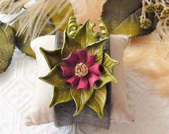 One of a Kind Plus Size Green Plum Gold Leather Floral Cuff