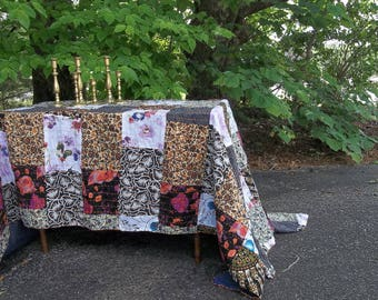 Boho Quilt Kantha Quilted Throw Handmade Quilt Quilted Bedding Boho Bedspread Boho Tablecloth Pieced Quilt 64 x 80