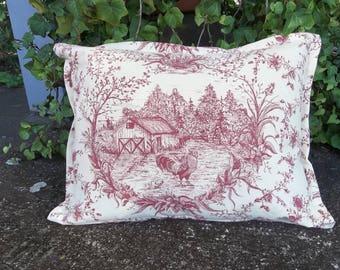 Farmhouse Toile Pillow Chicken Pillow Red Toile Pillow 12 x 16 Pillow