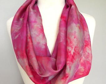 "Hand Dyed Silk Infinity Scarf - 11 x 76"", Fuschia, Grey, Fawn, Long Infinity Loop"
