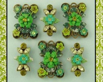 2 Hole Beads Flowers Floral Designer Green Olivine & Peridot Swarovski Crystal Elements QTY 6  (SKU 531498255)