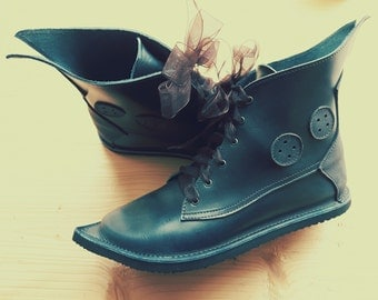 UK 6, Woodland fairy tale leather boots, MUSTARDSEED buttons 3183 darkest teal, slate