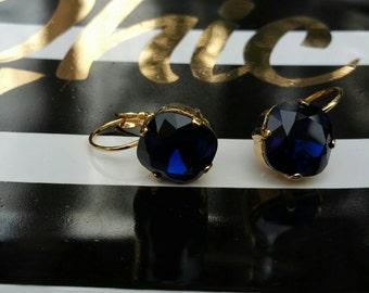Square Cushion-cut 12mm Swarovski Crystal Dangle Lever-back earrings, Gold, Dark Indico
