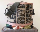 Repurposed Burlap and Fabric Bucket Bag, OOAK, Handmade in Maine