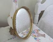 Petite Round Vanity Mirror Art Deco Brass Filigree Hollywood Regency Boudoir Chic