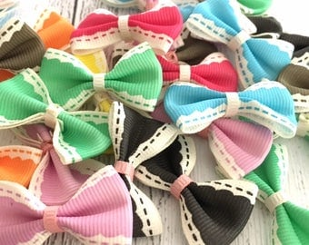 Cute Satin Ribbon Bows Embellishments for Craft, Sewing, Gift Wrap, Planner, Card Making, Scrapbooking