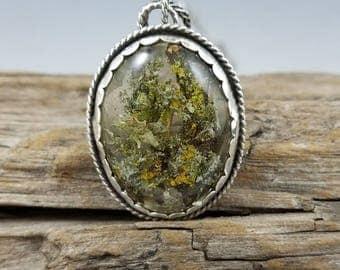 "Pacific Northwest lichen (in resin) and argentium ""Rain Forest"" pendant."